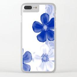 Retro 70s Flowers Sapphire Blue Clear iPhone Case