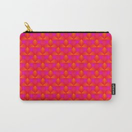 Chaotic pattern of dark pink rhombuses and orange triangles in a zigzag. Carry-All Pouch