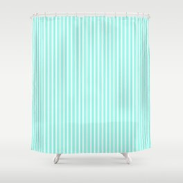Classic Small Aqua Gift Box Pastel Aqua French Mattress Ticking Double Stripes Shower Curtain