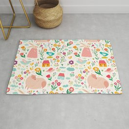 Modern girly pink green hand painted Easter rabbit floral Rug
