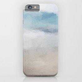 Light Aqua Blue Ocean Shore Waves Horizon Sandy Beige Beach Abstract Nature Ocean Painting Art Print Wall Decor  iPhone Case