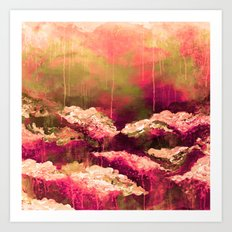 IT'S A ROSE COLORED LIFE 2 - Colorful Floral Garden Chic Abstract Pink White Olive Green Painting Art Print