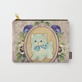 Kitschy Blue Kitten Carry-All Pouch