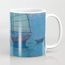 Sailing Boats, Night (Hansen, Yoru) Hiroshi Yoshida Vintage Japanese Woodblock Print Coffee Mug