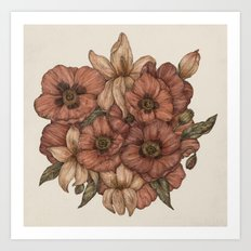 Poppies and Lilies Art Print
