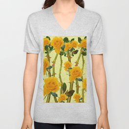 GOLDEN ROSES & THORNY CANES ON  YELLOW Unisex V-Neck