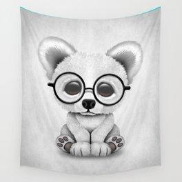 Cute Polar Bear Cub with Eye Glasses Wall Tapestry