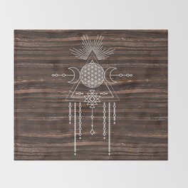 Triple Goddess - Flower of Life - Moon Phase - Shaman - Tribal - Sri Yantra - Brown Marble - Wood - Throw Blanket