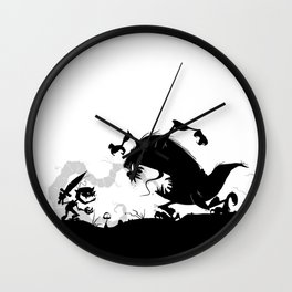 Silhouette of Conflict Wall Clock