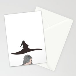 Beautiful girl witch with piercing, curly gray hair and flying cone-shaped hat. Stationery Cards