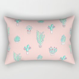 Little succulent pattern on pastel pink Rectangular Pillow