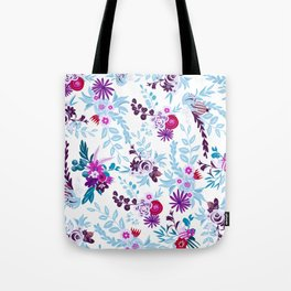 Abstract pastel blue pink country flowers pattern Tote Bag