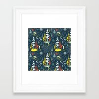 skiing Framed Art Prints featuring Retro Skiing  by beach please