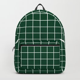 British racing green - green color - White Lines Grid Pattern Backpack