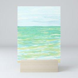 Ocean Mint watercolor seascape mint green Mini Art Print