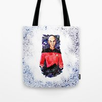 picard Tote Bags featuring Captain Picard Day by Lady Yate-xel