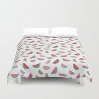 watermelon Duvet Covers featuring Watermelon by Abby Galloway
