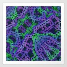 Green and purple film ribbons Art Print