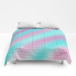 Artistic hand painted pink teal geometrical pattern Comforters