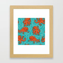 Fun orange octopus on turquoise background. Framed Art Print