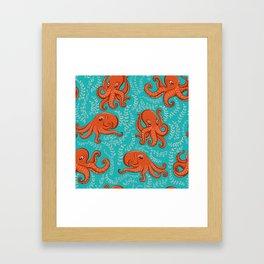 Fun orange octopus on turquoise background. Framed Art Print