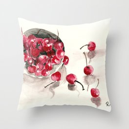 Cherries in a Bowl Throw Pillow