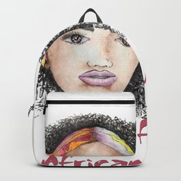 Woman from Africa watercolor portrait Backpack