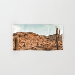 Saguaro Mountain // Vintage Desert Landscape Cactus Photography Teal Blue Sky Southwestern Style Hand & Bath Towel