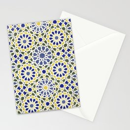 Middle Eastern Tile Pattern in Blue and Yellow #2 Stationery Cards