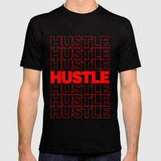 Hustle Thank You Plastic Bag Typography MEDIUM Black Mens Fitted Tee