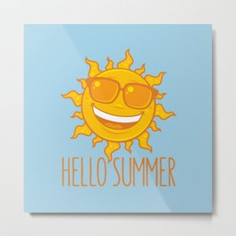 Hello Summer Sun With Sunglasses Metal Print