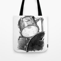 drums Tote Bags featuring Drums by Ashley Silvernell Quick