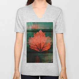 Rusty red dried fall leaf on wooden hunter green beams Unisex V-Neck