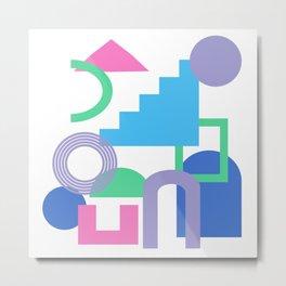 Bright 90s Vibe Geometric Shapes Collage  Metal Print