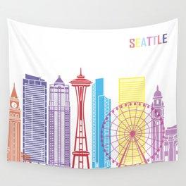 Seattle V2 skyline pop Wall Tapestry