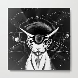 Cosmic vibes - Sphynx Cat - Black and White Metal Print