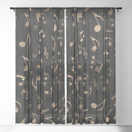 Music Pattern - Black and gold Sheer Curtain