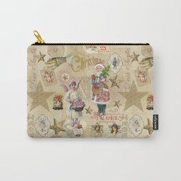 Vintage Christmas Collage Pattern Carry-All Pouch