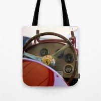 f1 Tote Bags featuring 1950 Ferrari 212 F1 Interior by Andre Gascoigne