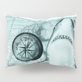 Great White Shark Compass Map Green Pillow Sham
