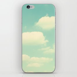 Mint Turquoise Sky Clouds, Teal Nursery Cloud Photography, Baby's Room Photo iPhone Skin