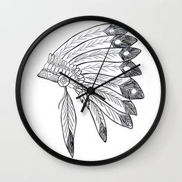 Native american indian headdress illustration Wall Clock