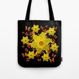 Decorative Black Design Butterflies Yellow Daffodils Tote Bag