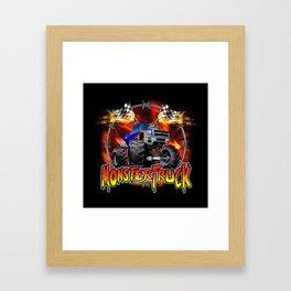 Monster Truck blue on Fire                                          Framed Art Print