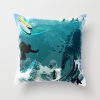 surfing Throw Pillows featuring Surfing by Robin Curtiss