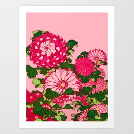 Japanese Flower Border, Fuchsia and Coral Pink Art Print