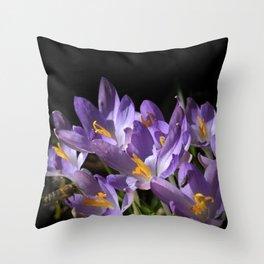 lilac crocus on black Throw Pillow