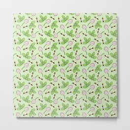 Doodle bees and clovers pattern on a green background Metal Print