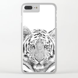 Black and white tiger Clear iPhone Case