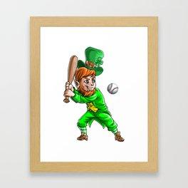 Leprechaun Baseball Framed Art Print